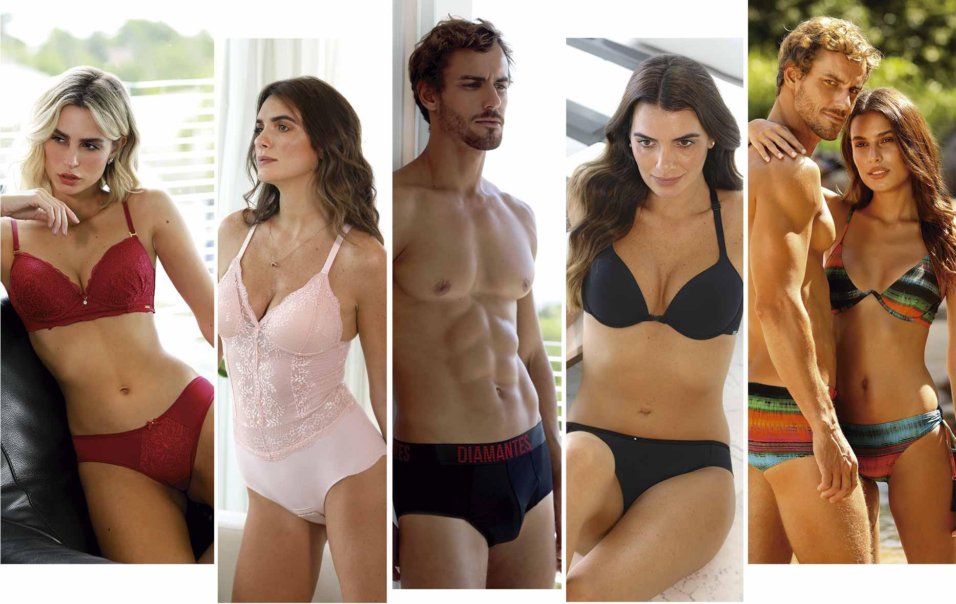 Banner com fotos de produtos de todas as marcas do grupo Diamantes.