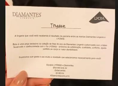Diamantes Com Lycra_Thyane Dantas recebe body customizado da Diamantes com Lycra.