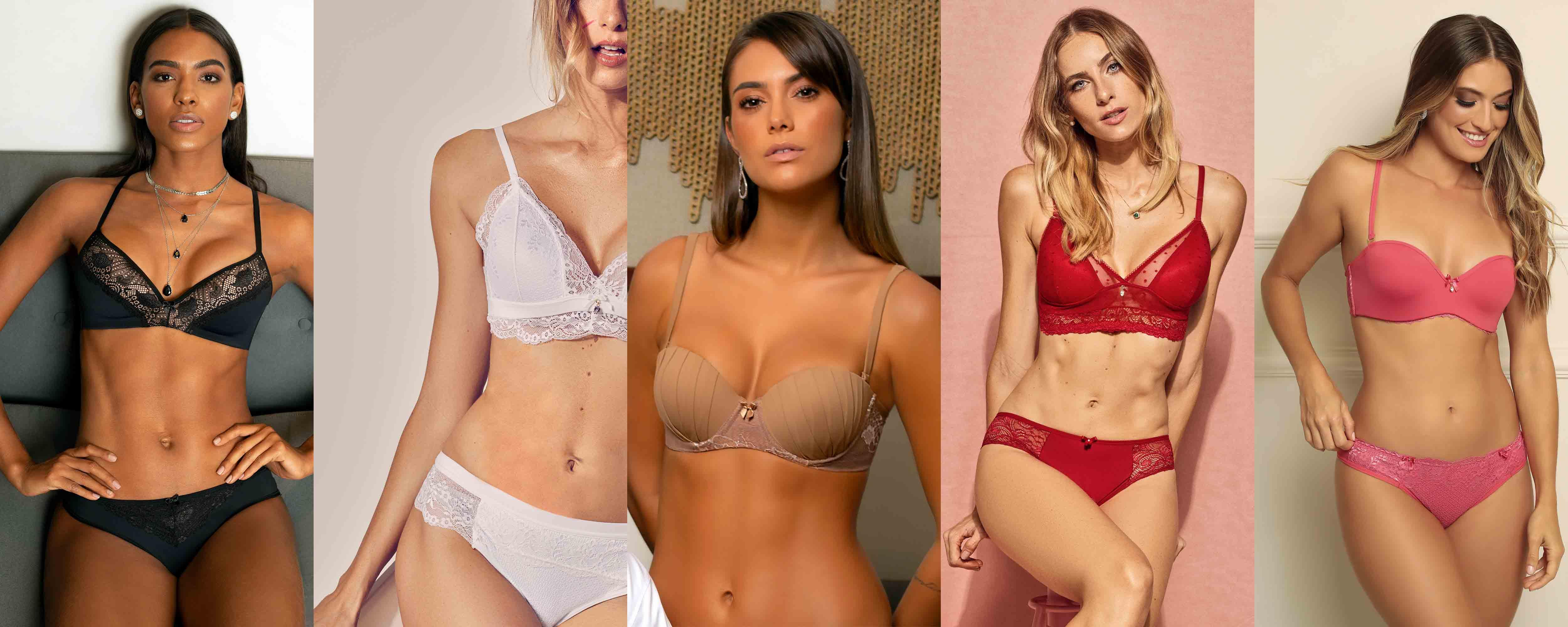 Compilado de modelos usando lingeries Diamantes com cores preta, branca, bege, vermelha e rosa.