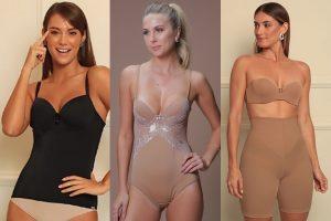 Três fotos em uma. Modelos usando body e camisete shapewear.