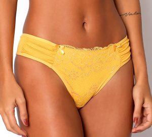 Calcinha Diamantes modelo biquíni com detalhes em renda na cor amarela.