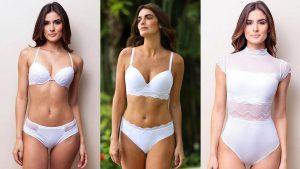 A imagem está dividida em três fotos, cada uma com uma modelo usando uma lingerie branca. Da esquerda para a direita: Na primeira imagem a modelo veste uma lingerie push-up; Na segunda a modelo usa um sutiã lift; Na terceira a modelo usa um body com renda e mangas curtas.