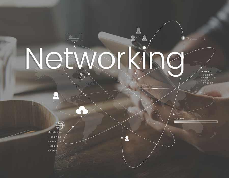 """Imagem com lettering """"Networking"""" e conexão com linhas de contato. Ao fundo uma mão feminina segurando um celular na cor branca."""