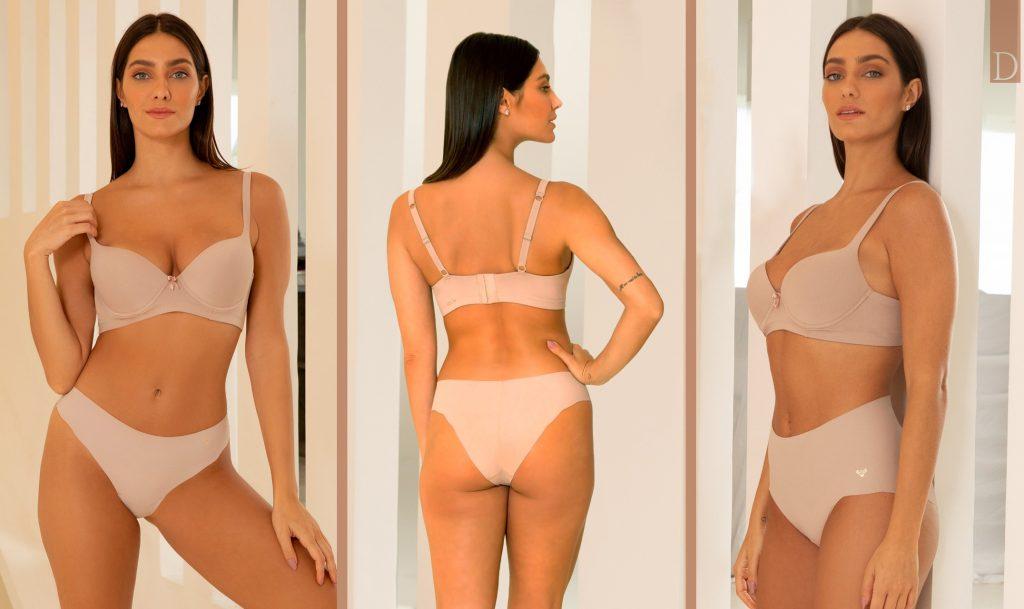 Compilado de três fotos com a modelo usando lingerie Diamantes D-Skin zero marcas.